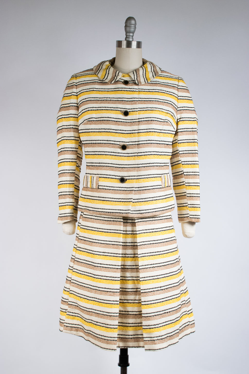 Textural 1960s Two Piece Dress and Jacket Set in Nubby Yellow and Brown Stripes