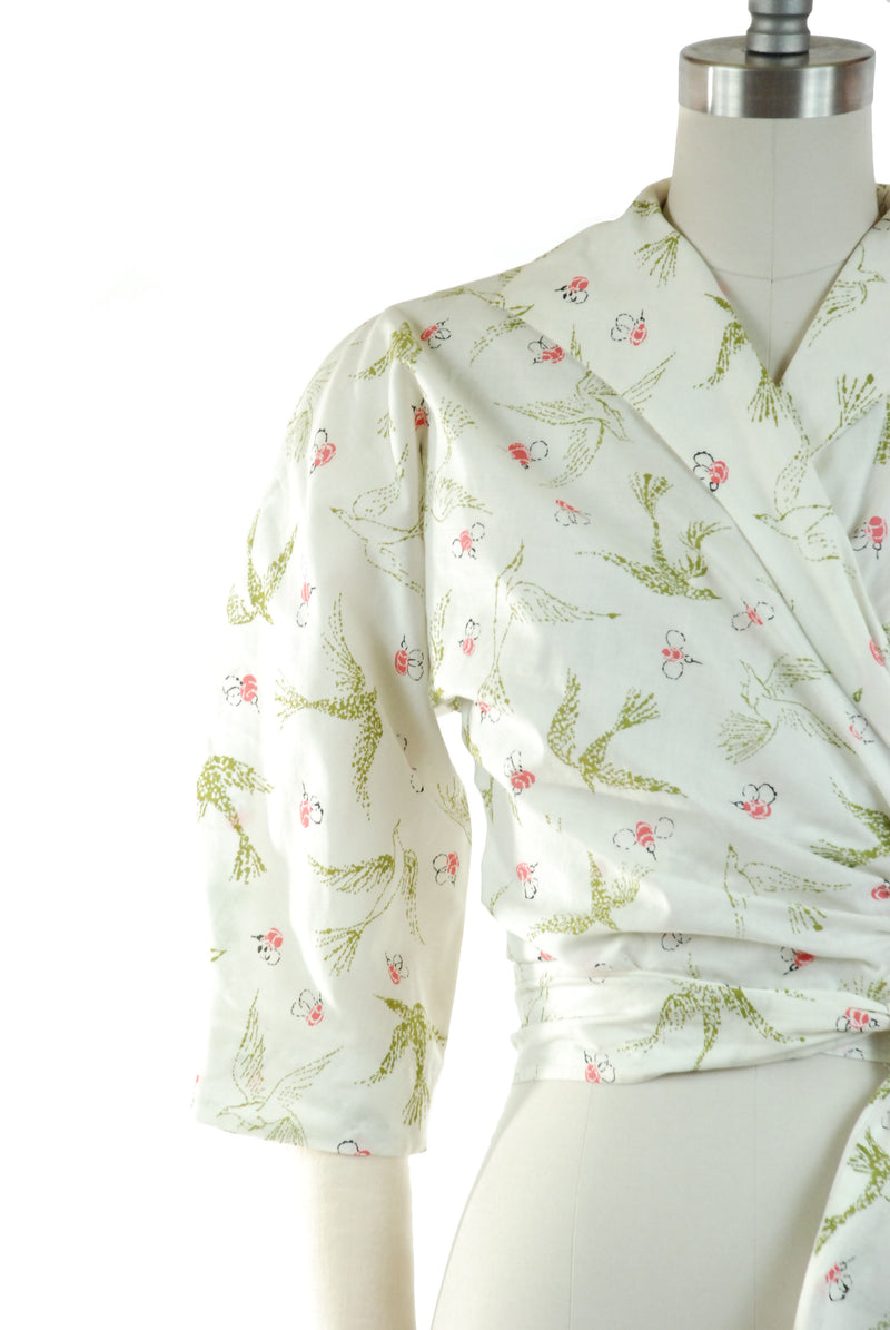 "RARE 1950s Edith Head ""The Birds and the Bees"" Blouse by Bates Cotton Novelty Print"