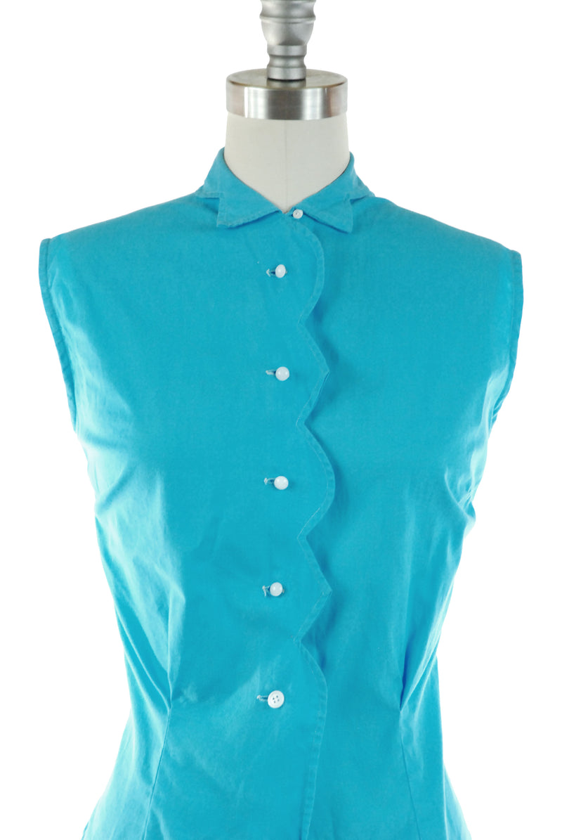 Cute 1950s Sleeveless Cotton Summer Top in Turquoise Blue