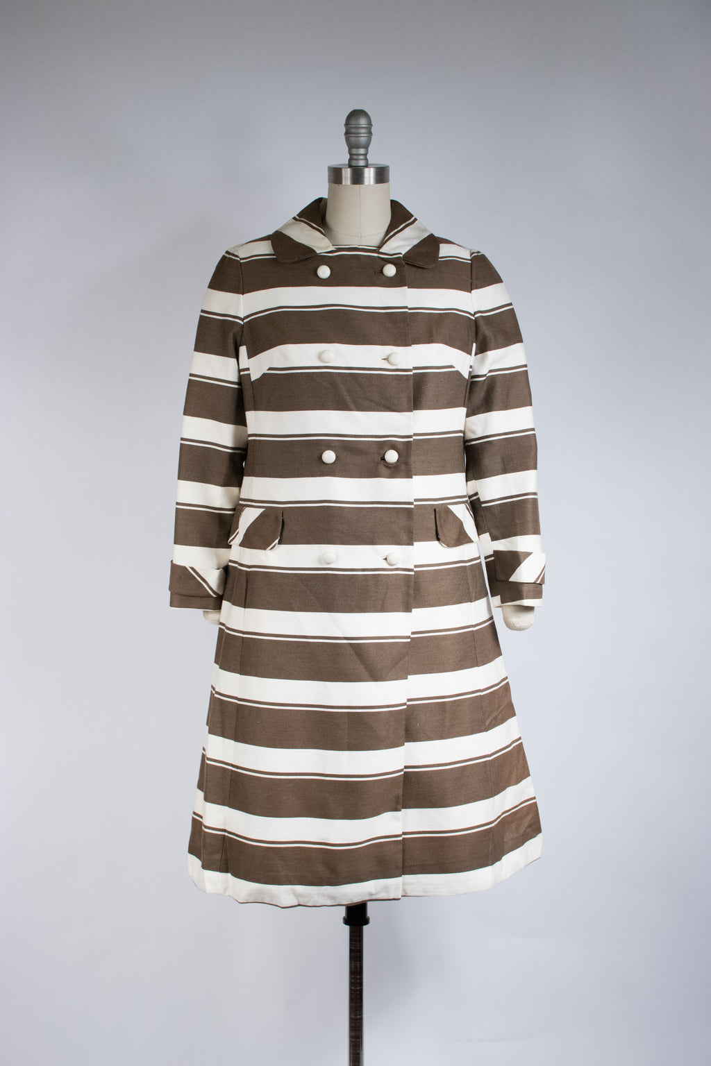 Crisp 1960s Two Piece Mod Dress Set in Chocolate Brown and Ivory Stripes