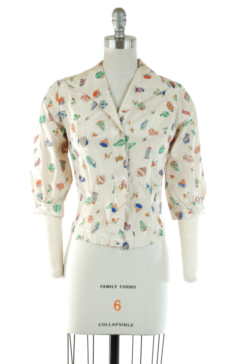 Smart 1950s Novelty Print Top with Bright Colored Ancient Pottery and Pharoah Head Buttons