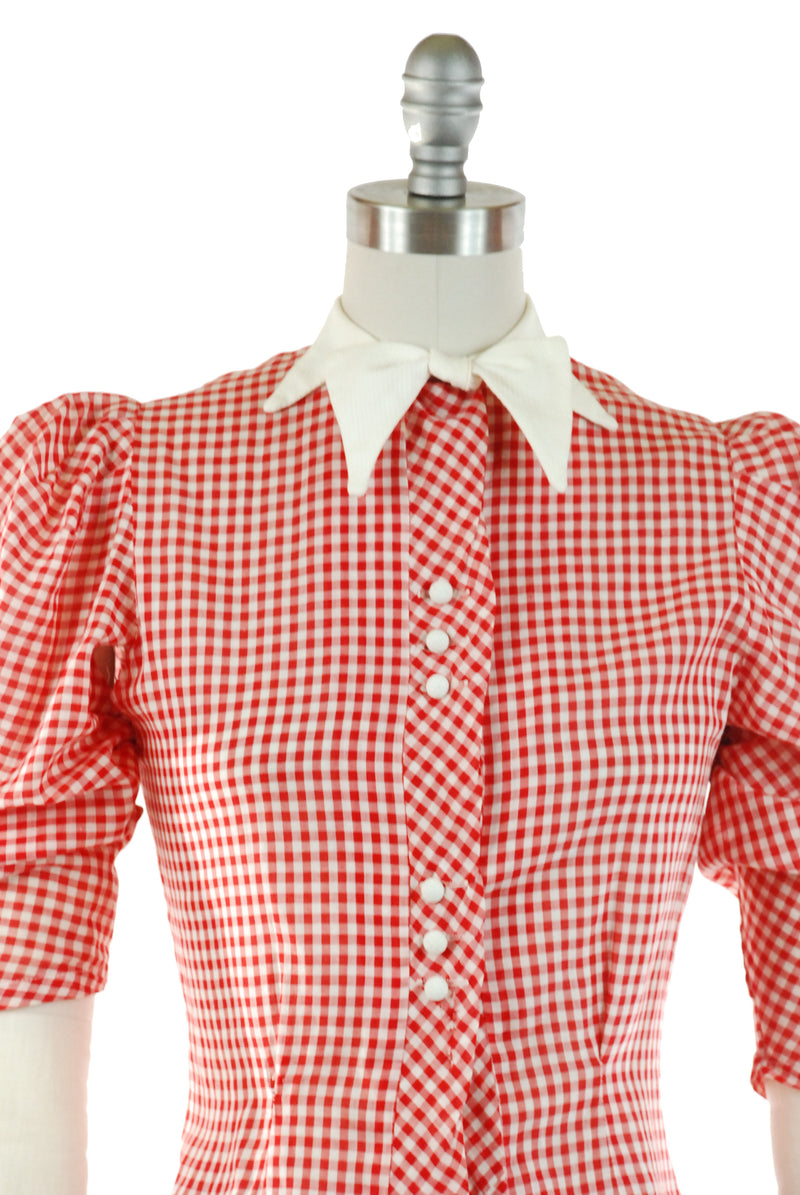 Rare Late 30s Puff Sleeve Gingham Blouse in Red and White Check with Pique Bowtie