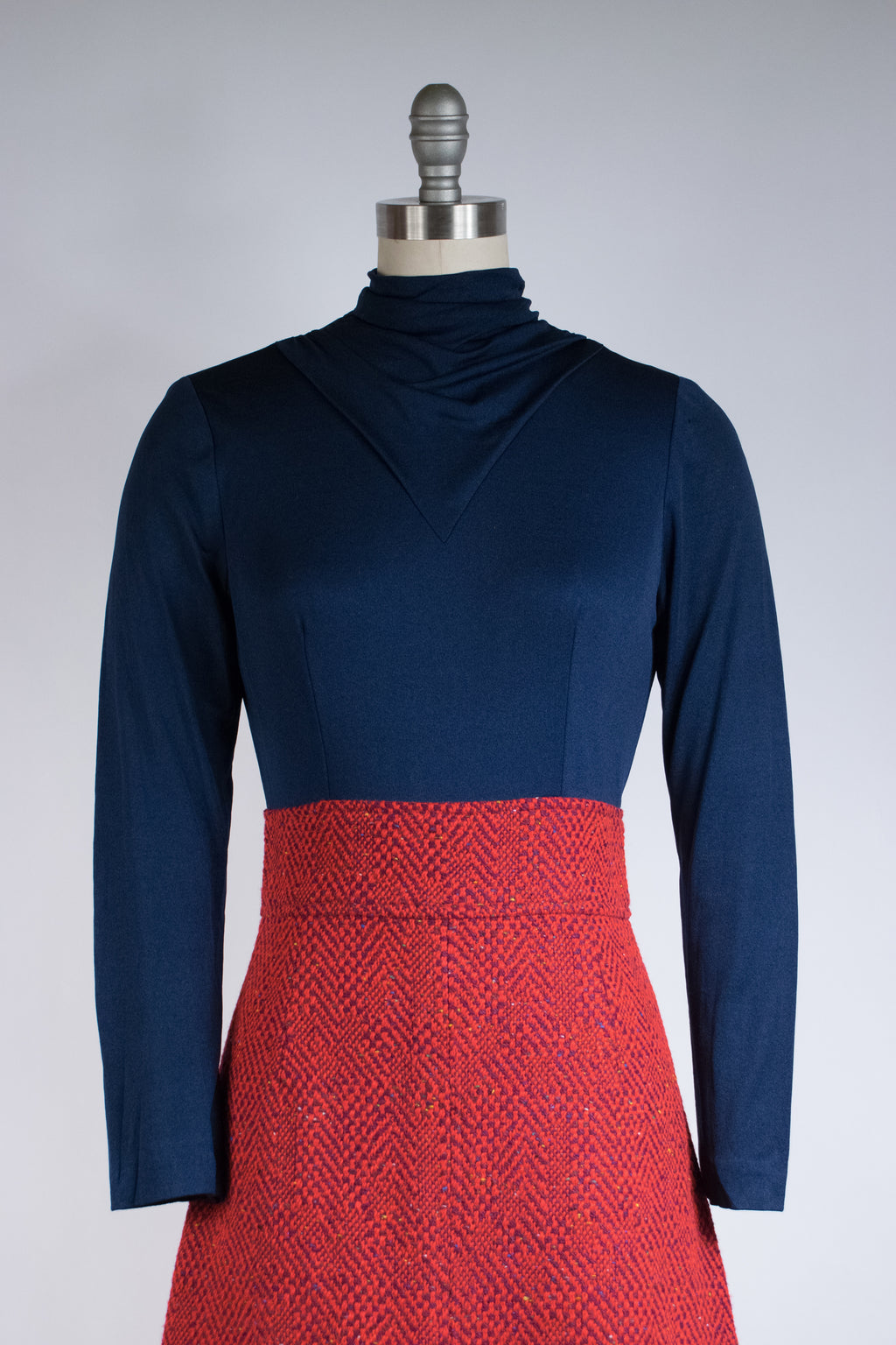 Smart 1960s Two Piece Dress Set in Vegan Tweed and Navy Jersey