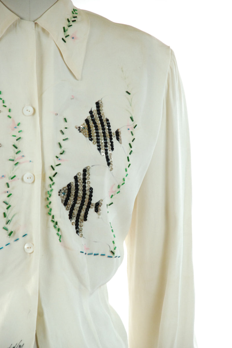 RARE 1940s Hand Painted Rayon Blouse with Sequined Angel Fish Motif
