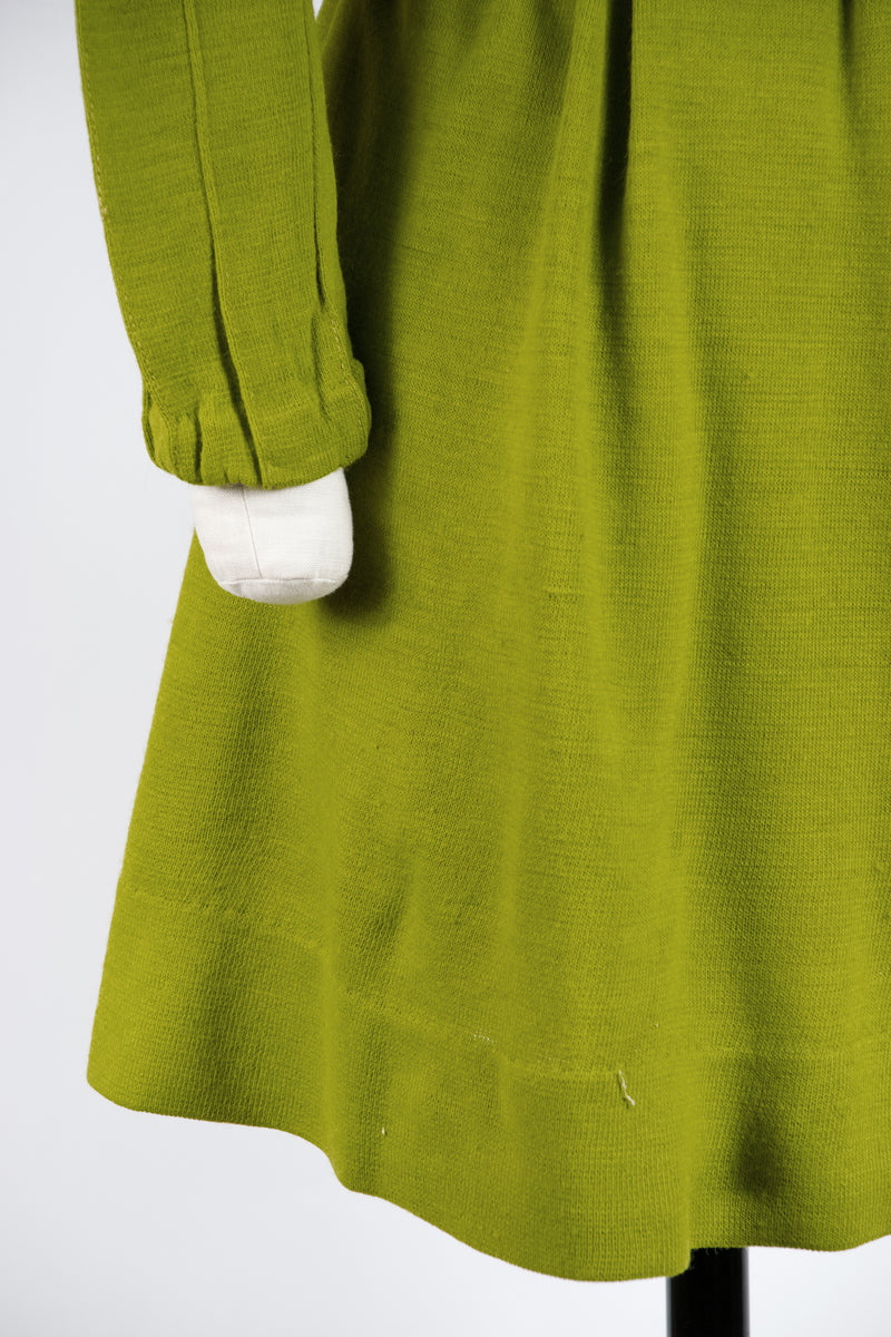 Darling 1960s Wool Blend Babydoll Knit Dress in Olive
