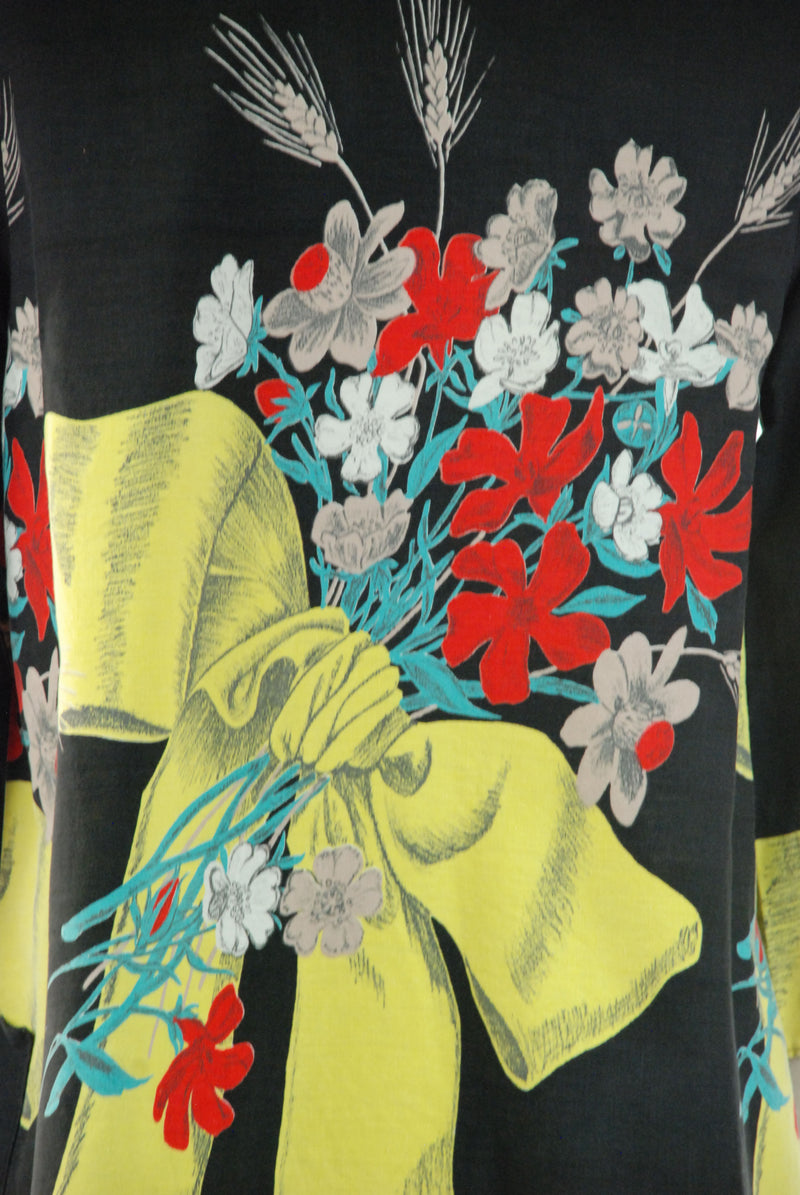 Gorgeous 1950s Cotton Swimsuit Cover with Bold Bow and Floral Print