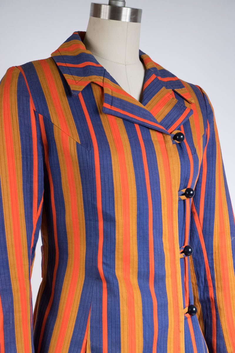 Bold 1960s Striped Jacket in Saturated Red, Caramel and Blue by Post Time Original
