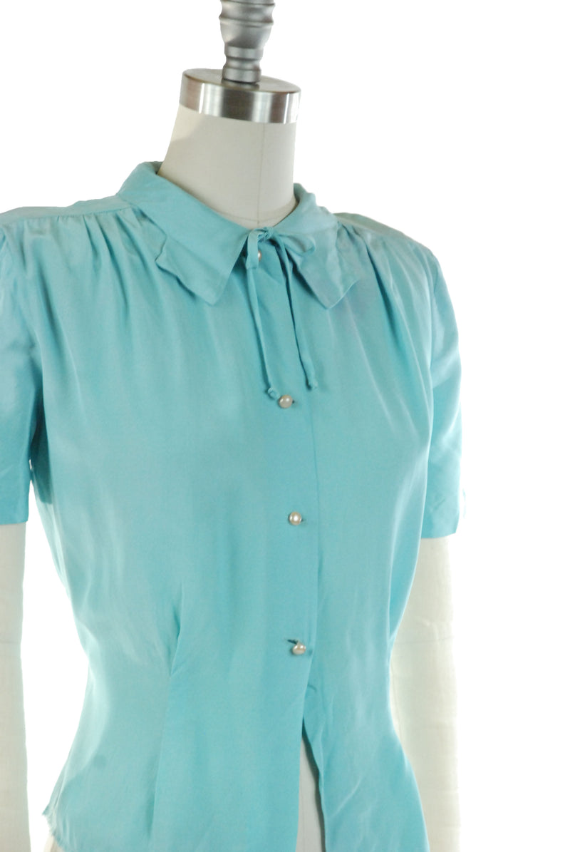 1940s Rayon Blouse in Bright Blue with Charming Neckties