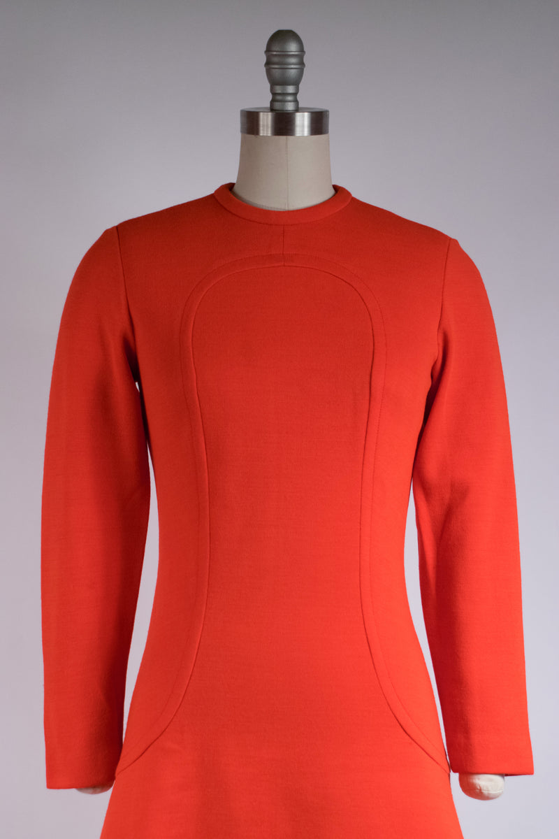 Brilliant 1960s Tomato Red Mod Wool Knit Dress