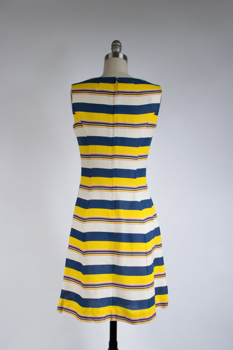 Playful 1960s A-Line Day Dress in Bright Stripes