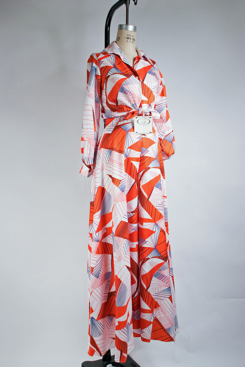 Incredible 1970s DEADSTOCK Lilli Diamond Palazzo Pants Ensemble with Blouse and Scarf