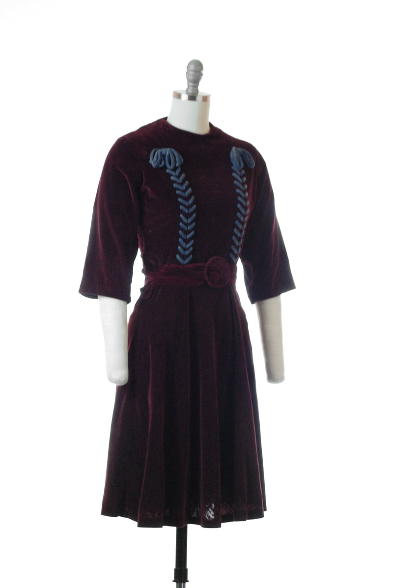 Lovely 1930s Velveteen Burgundy Half Sleeve Dress with Corseting Details