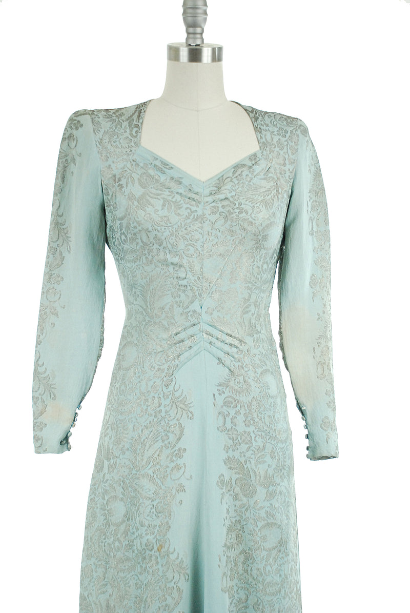 Elegant and Unique 1940s Lamé and Rayon Dress in Pale Blue with Exquisite Silver Floral Motif Throughout One of a Kind