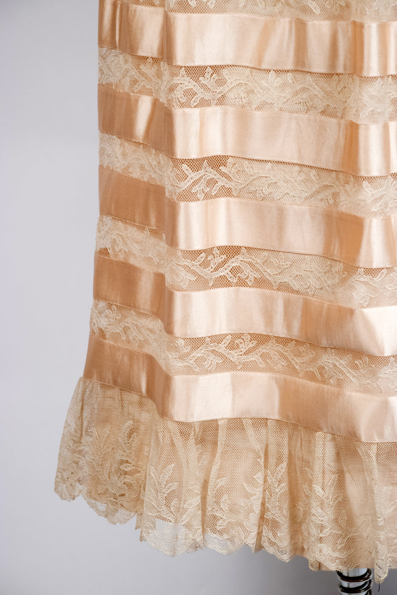 Gorgeous Antique Silk Belle Epoque Petticoat with Banded Silk Satin and Valenciennes Lace