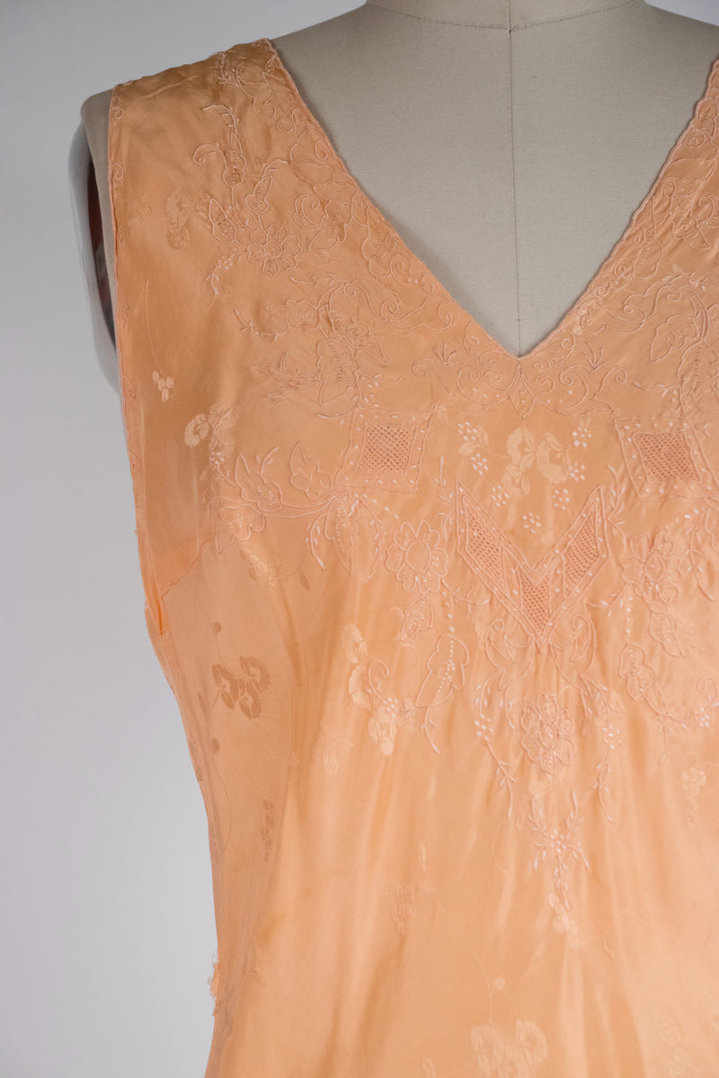 Lush 1930s Bias Cut Nightgown with Exceptionally Fine Embroidery