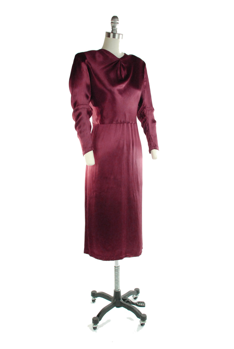 Rare Late 1930s Dress Silk in Burgundy Rayon Charmeuse Satin with Lace Redingote XL As Is