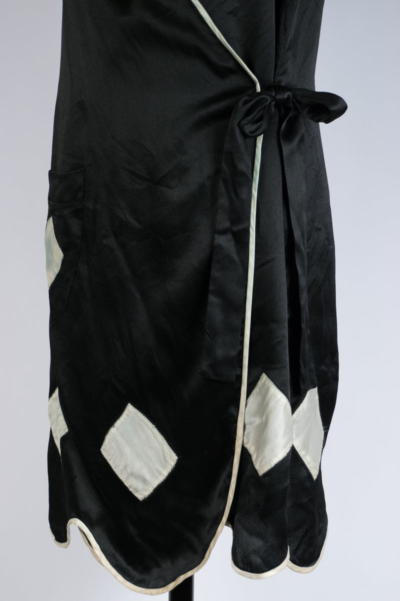 Cute 1920s Wrap Style Silk Lounging Dress/Housecoat
