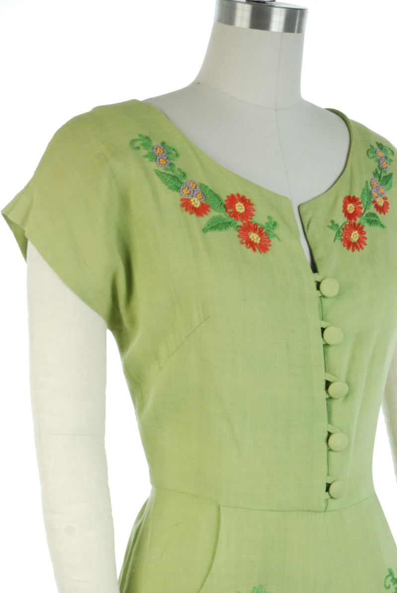 Charming Late 1940s Day Dress in Lime Green with Orange Floral Embroidery