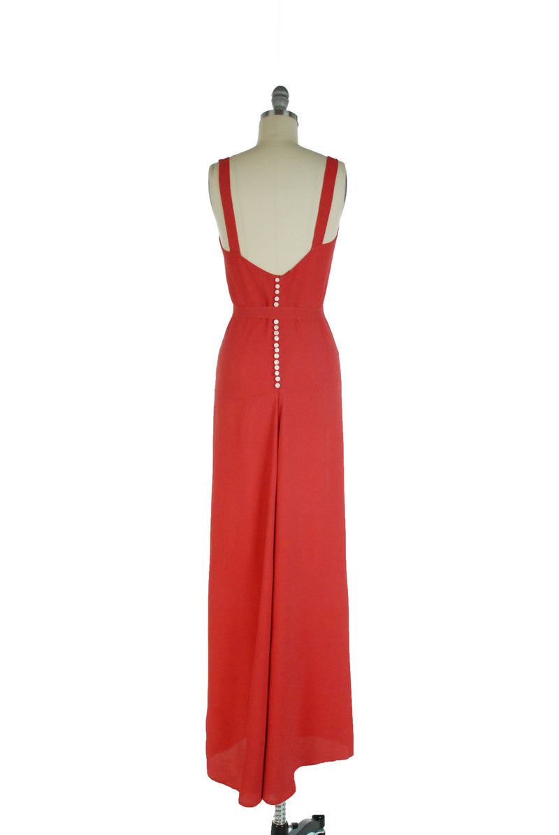 Stunning Coral-Red 1930s Bias Cut Summer Gown with Fishtail Hem