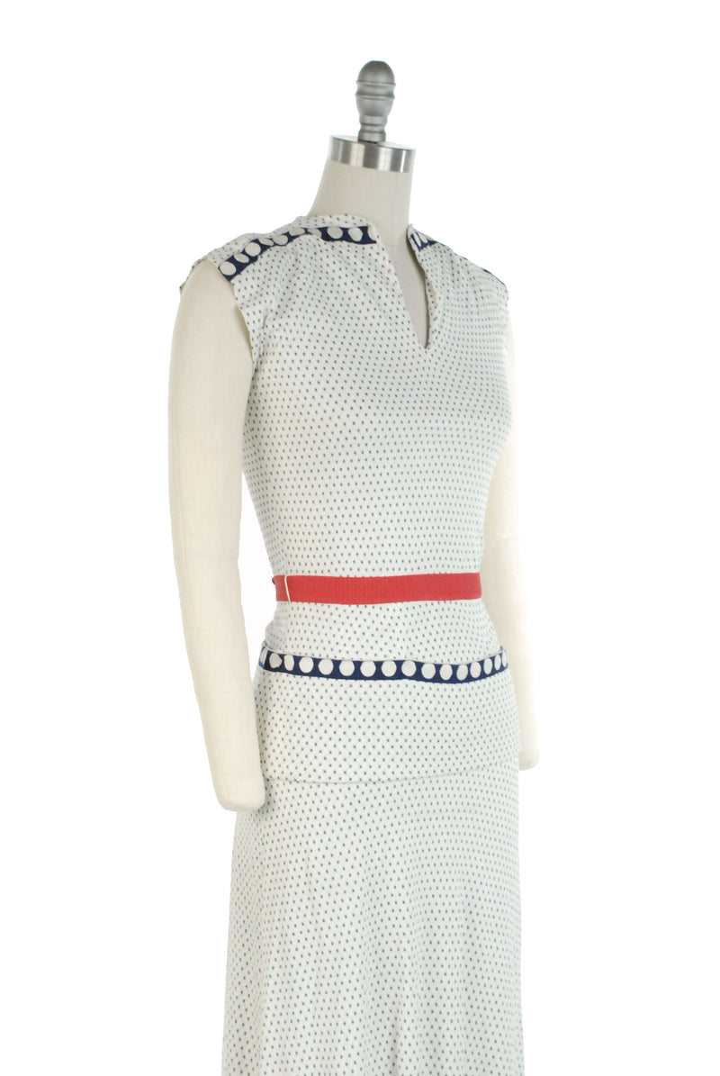 Cute 1940s Jersey Two Piece Dress Set in Blue and White Dots