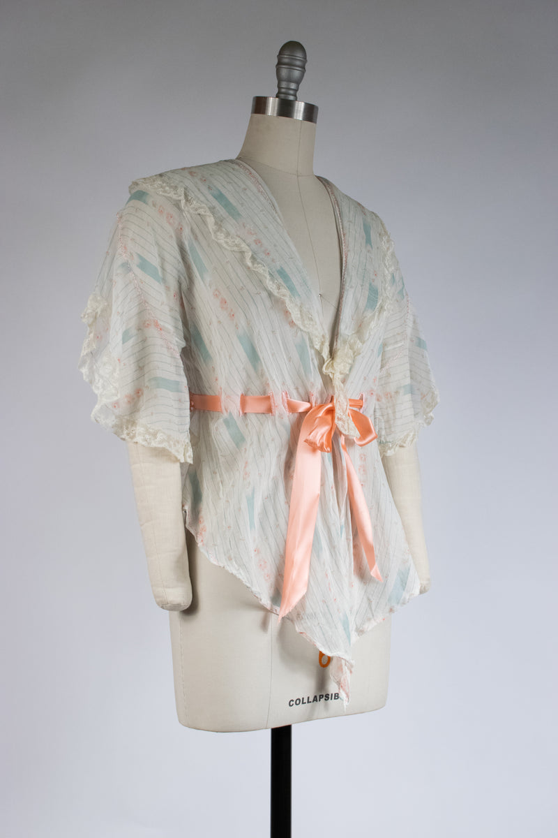 Delicate Edwardian Bed Jacket in Striped Rose Floral with Cinching Waist Ties