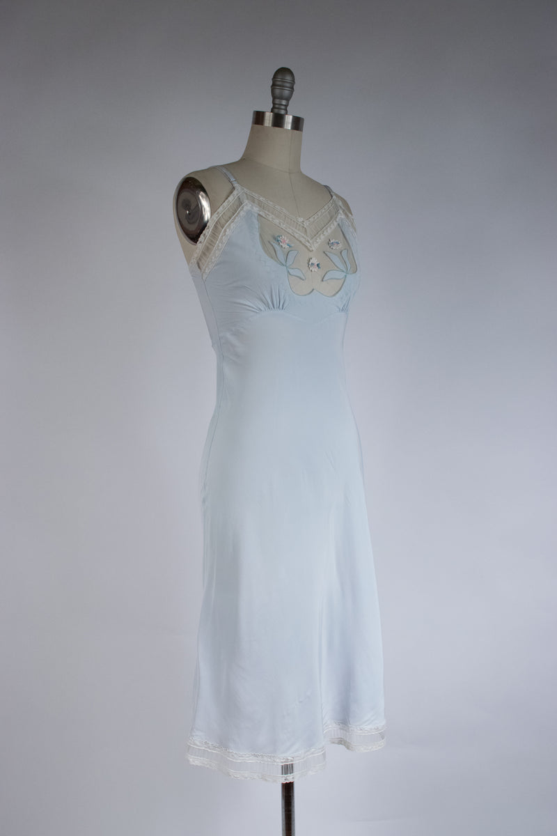 Gorgeous 1930s Bias Cut Rayon Slip by Lucky Girl with Sheer Mesh Bust and Floral Appliques