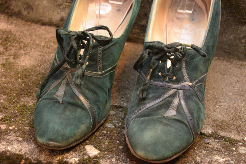 Smart 1930s Dyed Green Pointed Toe Oxfords Shoe Size 6.5 US