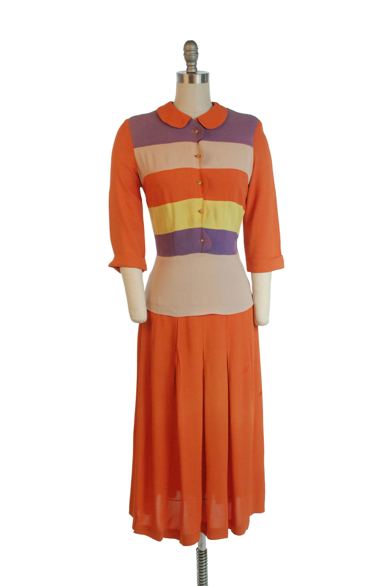 Fabulous 1940s Bold Colorblock Banded Rainbow Stripe Day Dress in Orange, Purple and Chartruese