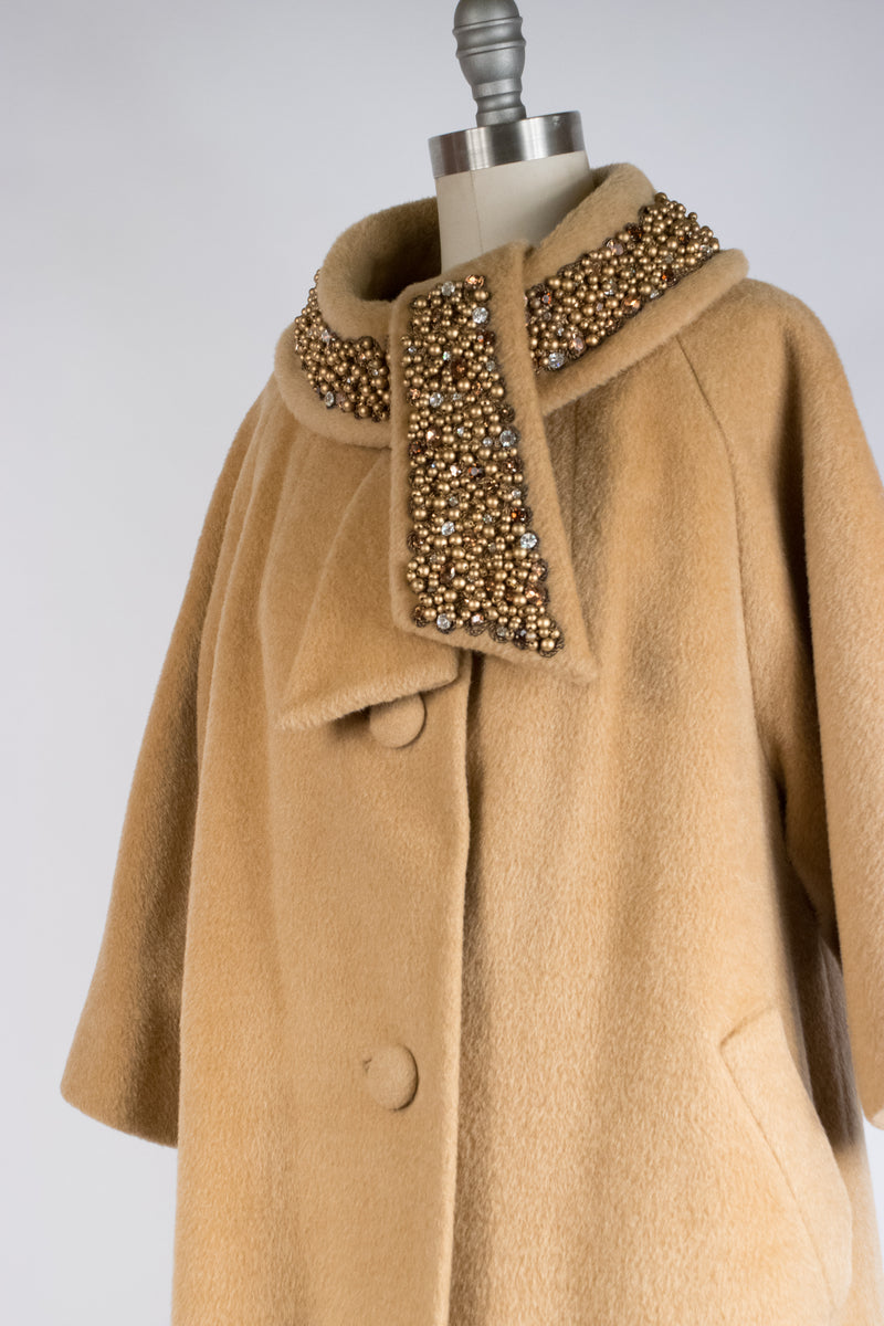 Fantastic 1960s Lilli Ann Coat in Camel Colored Fuzzy Mohair with Massive Rhinestone and Bead Encrusted Collar