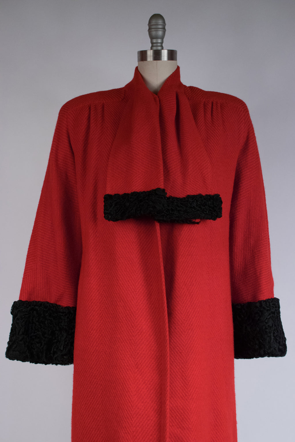Gorgeous Late 1940s Red Wool Coat in a Macro Herringbone Weave with Astrakhan Lamb Trim