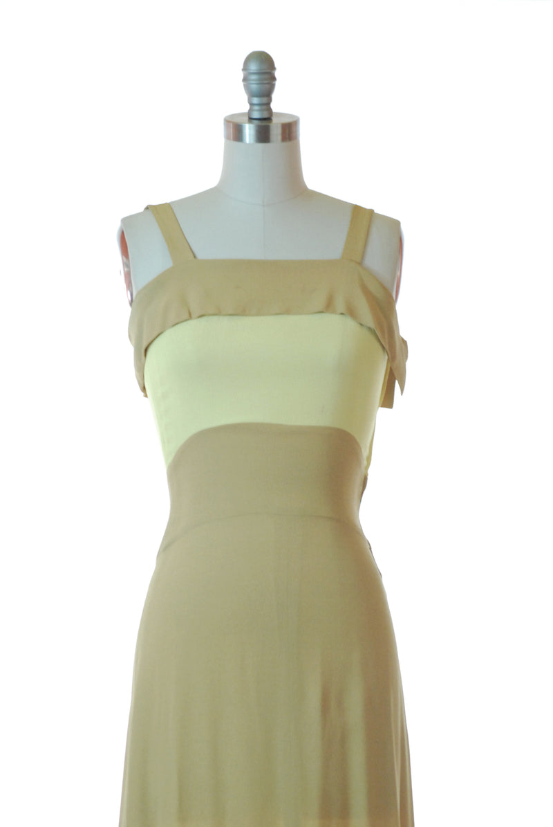 SOLD on Layaway - Stunning 1940s Rayon Crepe Colorblock Chartreuse and Dijon Mustard Evening Gown and Shawl