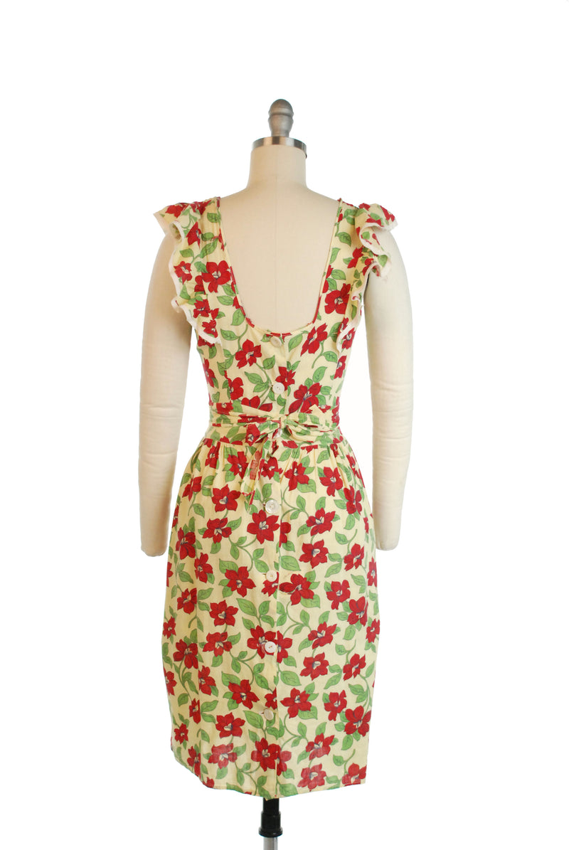 Darling Late 1930s Ruffled Pinafore Style Day Dress in Yellow with Red Floral