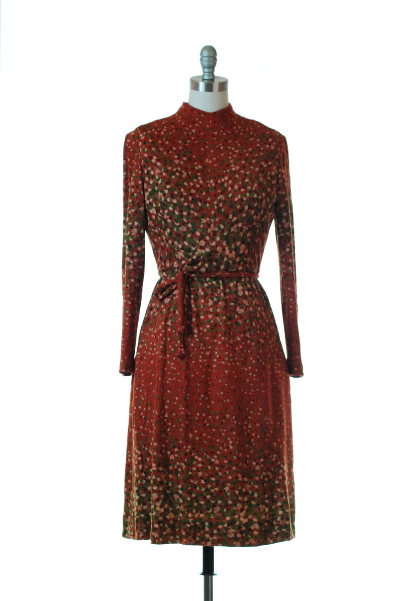 Charming 1970s Tree Print Knit Dress with Matching Tie Belt