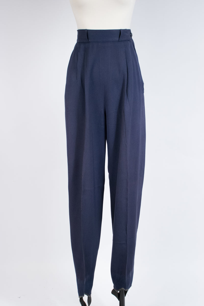 Classic 1940s Wool Gabardine Ski Pants in Navy Blue with Suspender Bottoms
