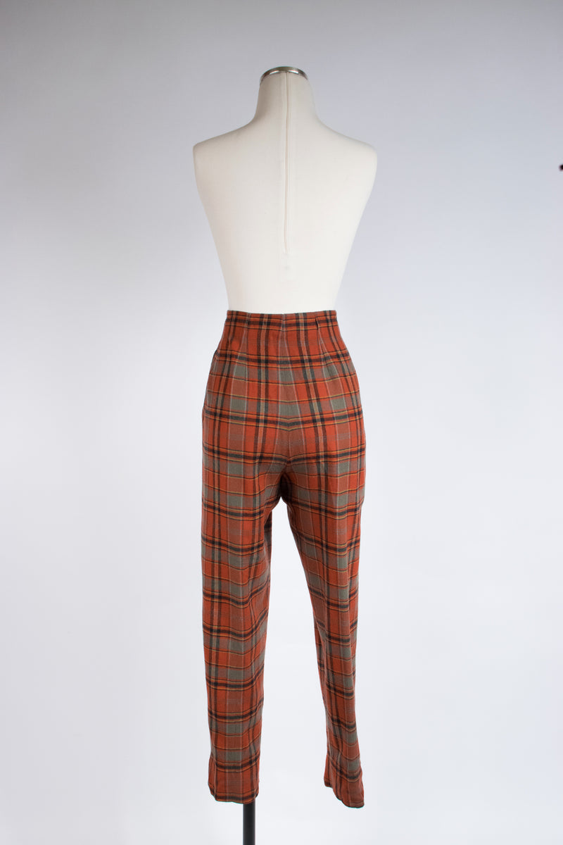 Fantastic 1960s High Waist Wool Plaid Cigarette Pants