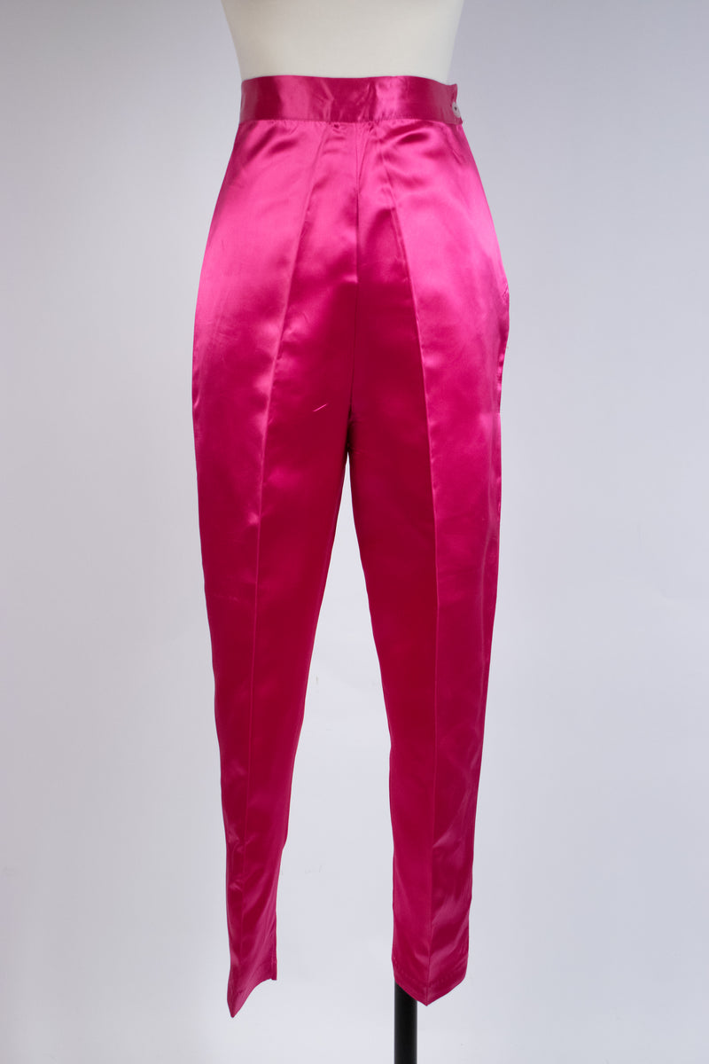 Bold 1950s Shocking Pink Satin Cropped Pants