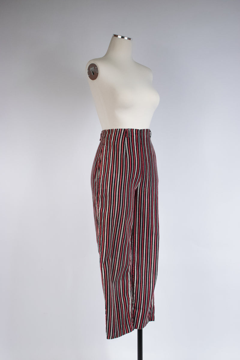 Cute 1950s High Waist Pants in Red, Black, White And Grey Striped Cotton Corduroy