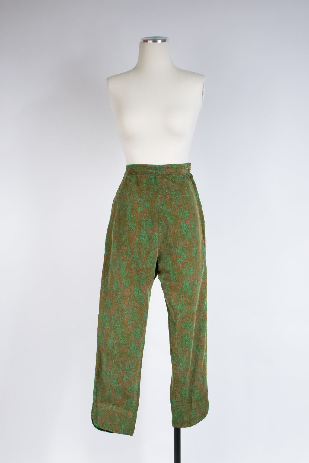 Fantastic 1960s High Waist Corduroy Cigarette Pants in Paisley Print