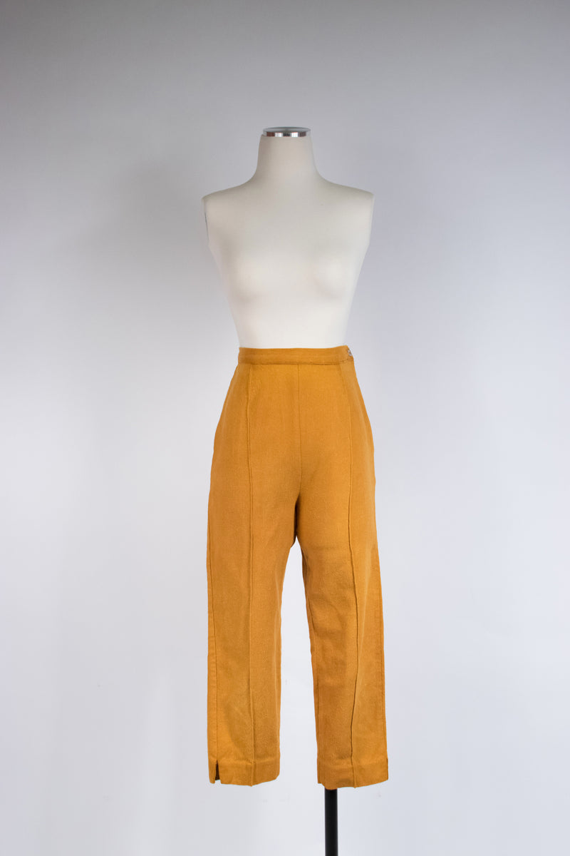 Bright 1960s Cigarette Suspender Pants in Robin's Egg Blue, Early Stretch Material