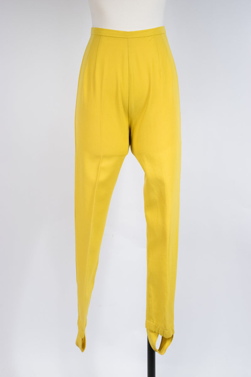 Bright 1960s Cigarette Suspender Pants in Canary Yellow