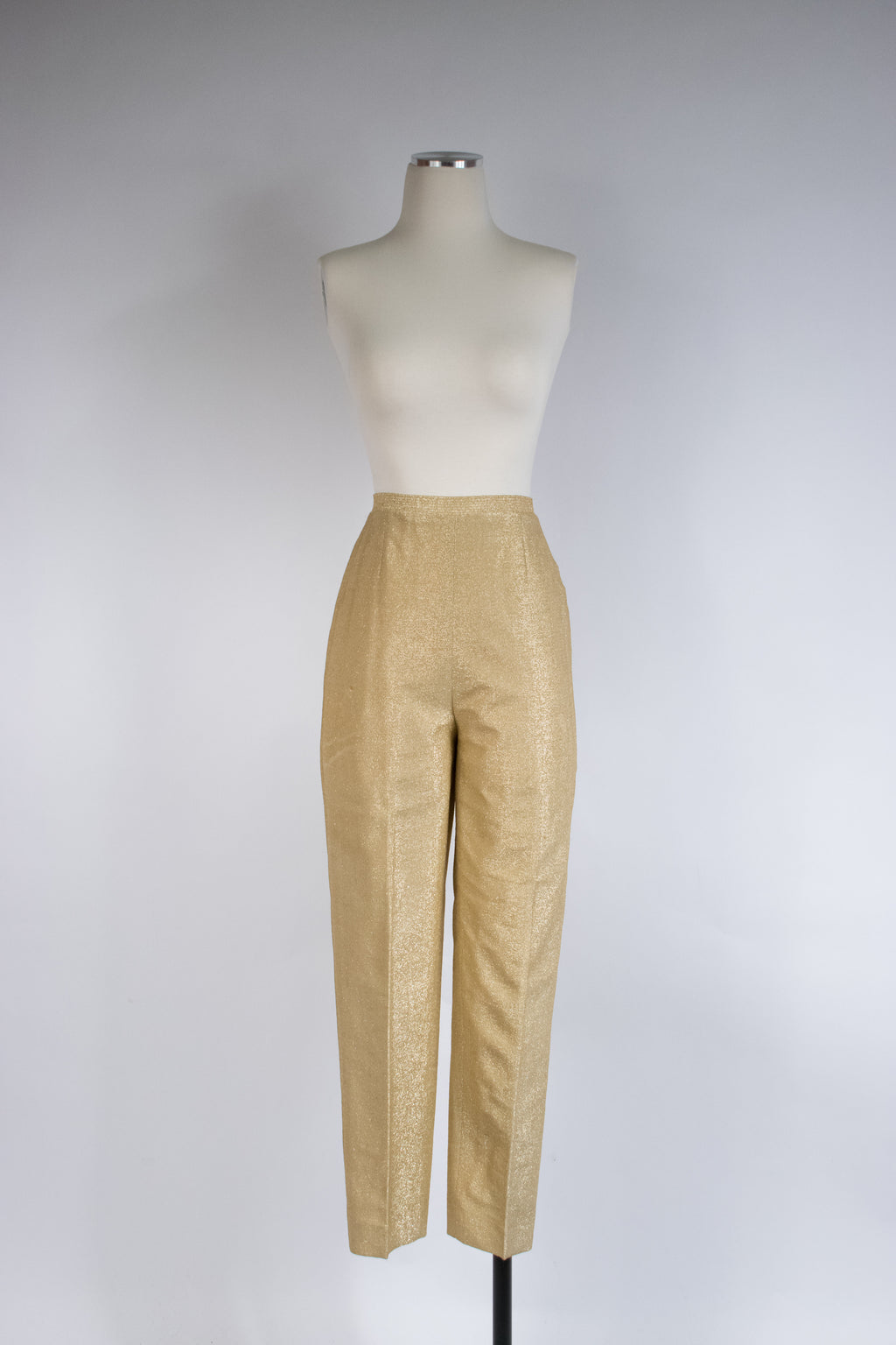 Killer 1950s Sparkling Gold Lurex Cigarette Pants by Koret of California