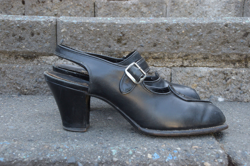 Smart Early 1940s Peeptoes with Mary Jane Strap and Chunky Heel Shoes Size 8 N US