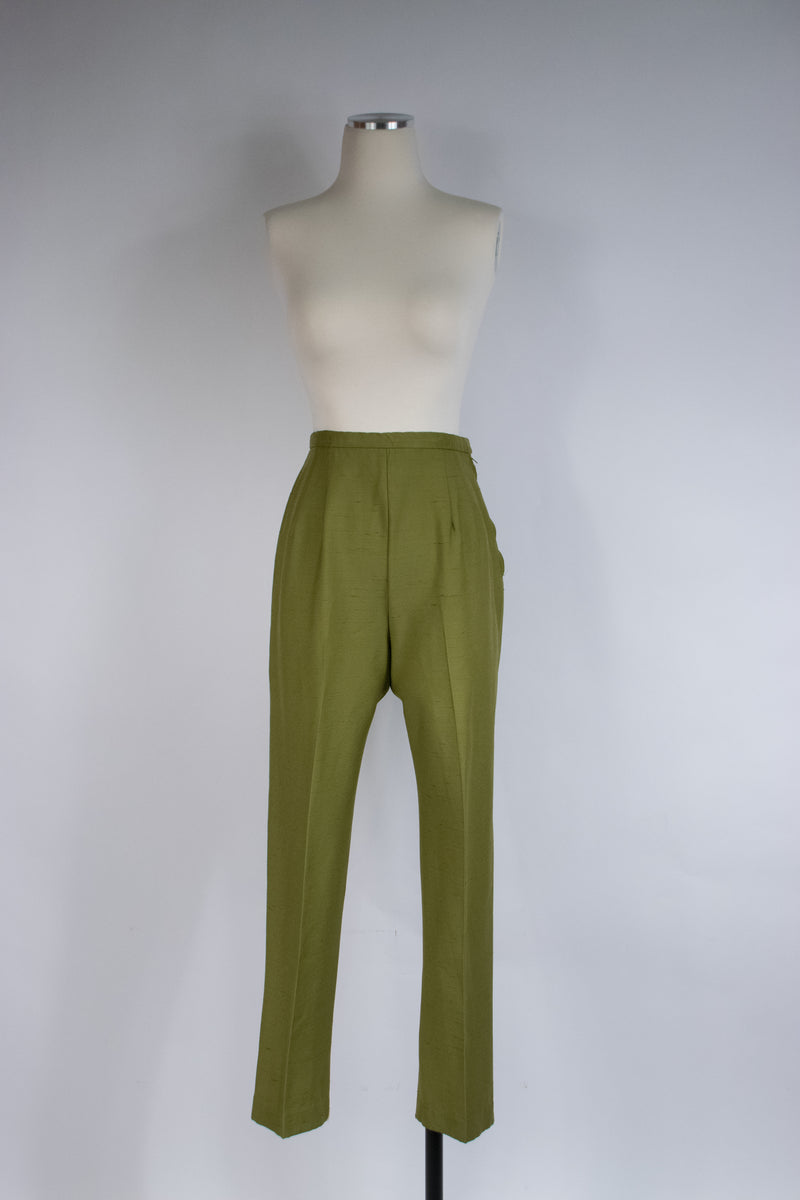 Rich 1960s High Waist Olive Green Pencil Pants with Slubbed Texture