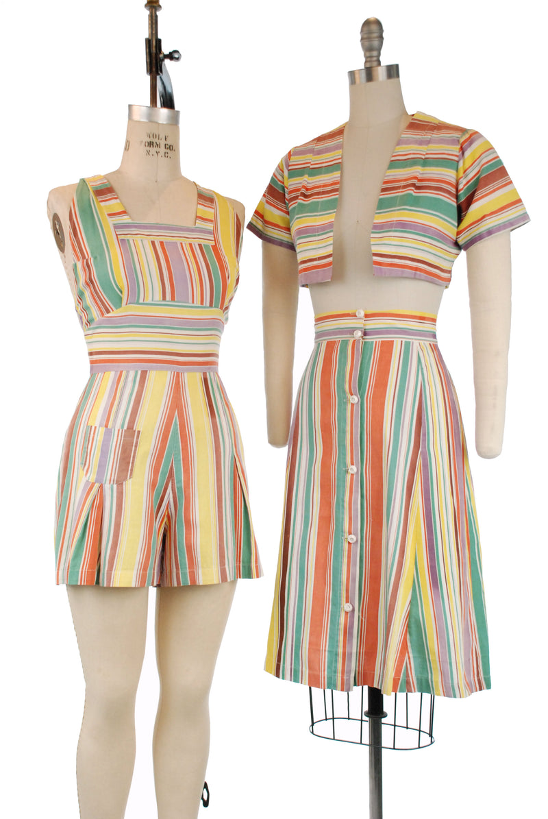 RARE Swimtime Togs Three Piece 1940s Playsuit with One Piece Romper, Skirt and Bolero in Rainbow Stripes