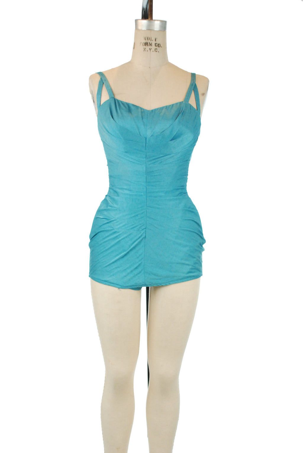 Bombshell Rose Marie Reid 1950s Draped Sheath Swimsuit in Bright Aqua