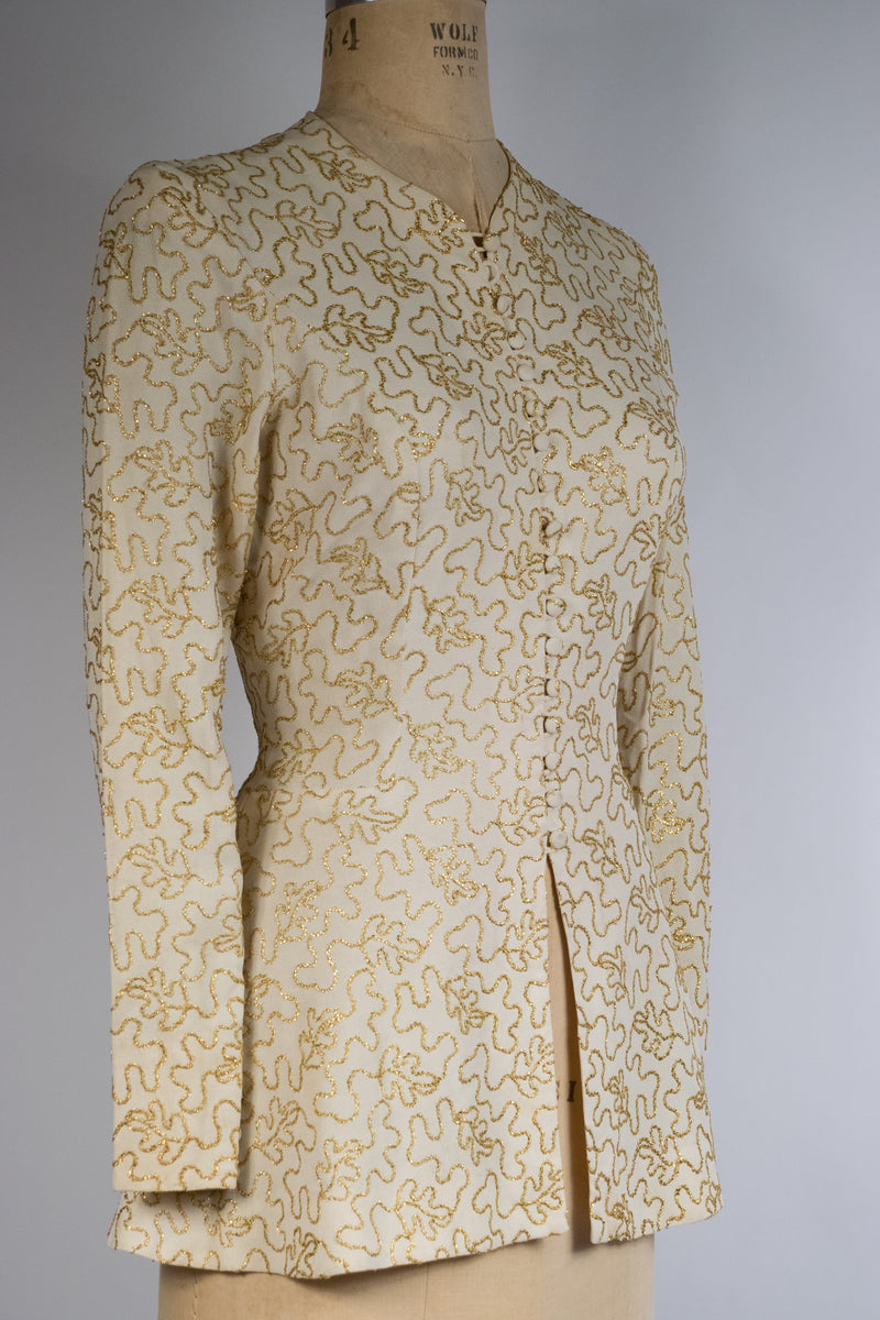 Gorgeous 1940s Evening Jacket of Ivory Rayon Crepe with Gold Soutache