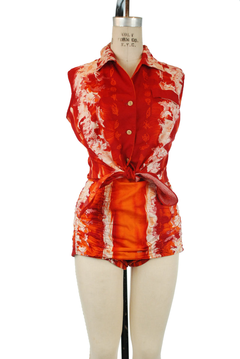 Rare 1950s Kamehameha Bathing Suit Ensemble with One Piece Suit and Matching Tie Style Blouse