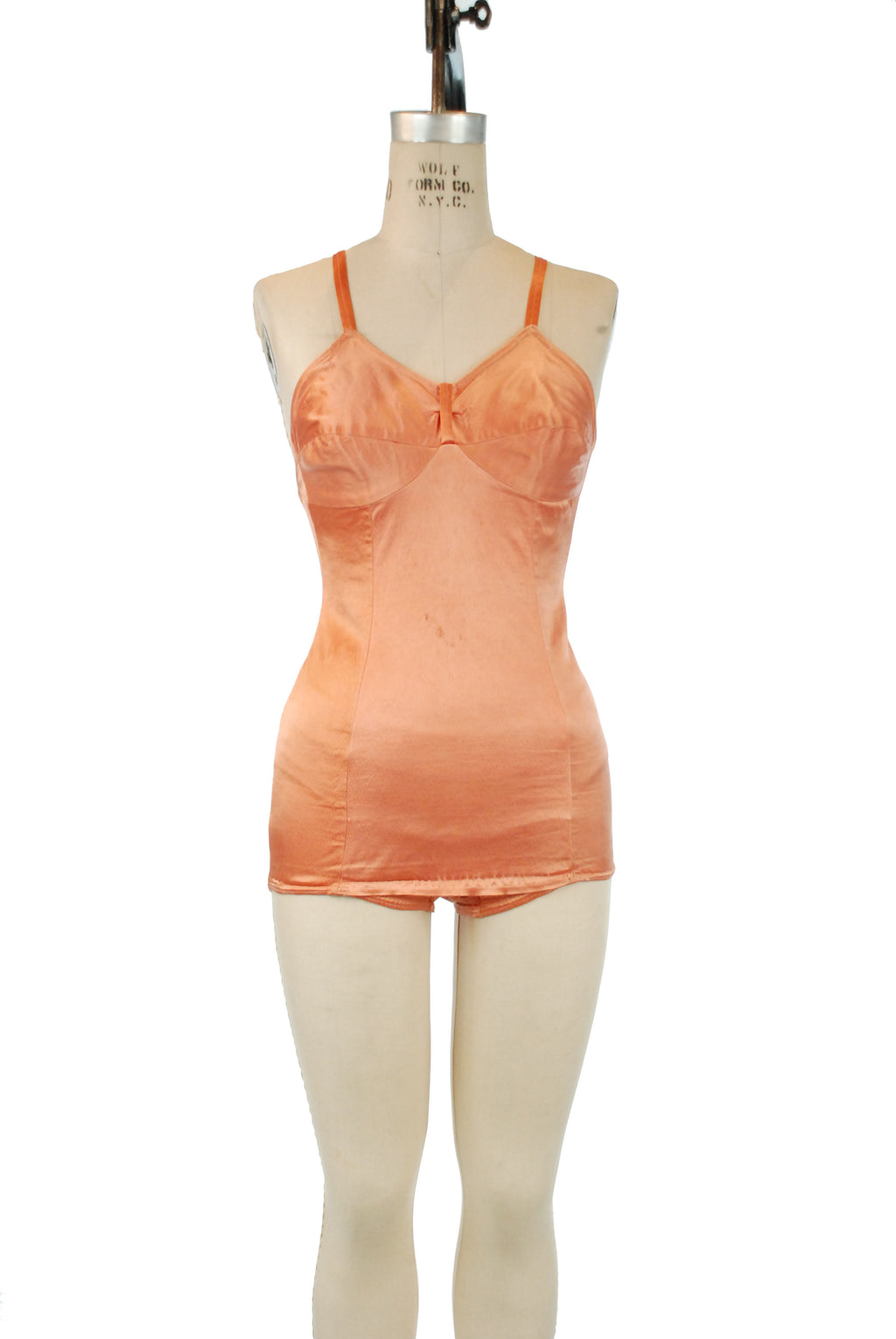 Stunning 1930s Satin Lastex Bathing Suit in Rich Apricot