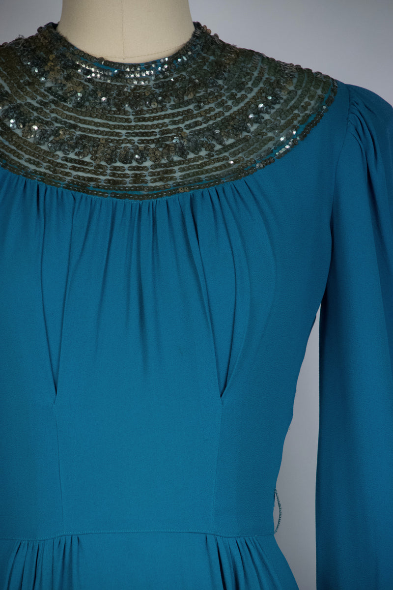 Exquisite Late 1930s FOGA Evening Gown of Cerulean Blue with Sequined Neckline