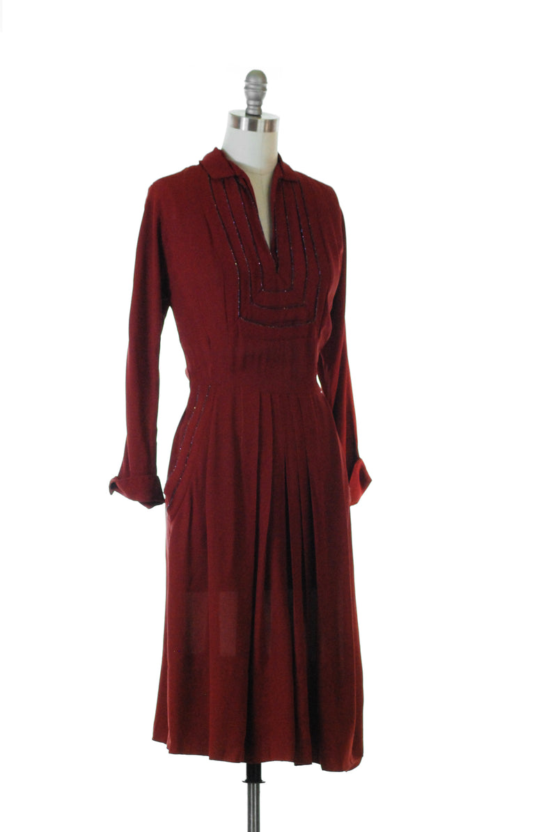 Sophisticated 1940s Cabernet Rayon Crepe Dress with Beaded Collar and Pockets